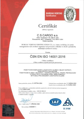 Certifikát ISO 14001 2016