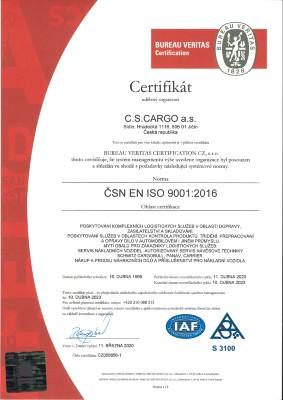 Certifikát ISO 9001 2016
